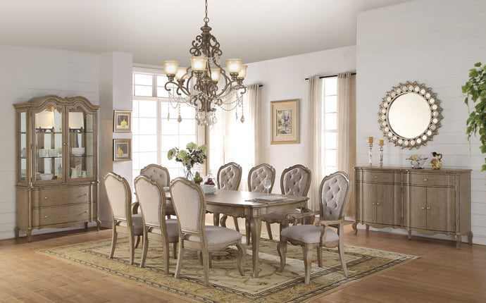 Acme 66050 Chelmsford 9 Pieces Antique Taupe Dining Table Set