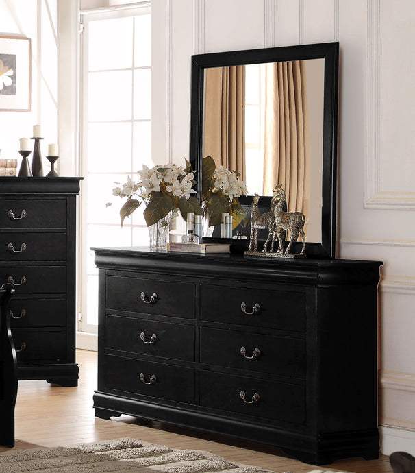 Acme Louis Philippe Black Wood Finish Dresser With Mirror