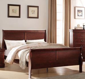 Acme Louis Philippe Cherry Wood Finish Full Sleigh Bed