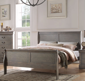 Acme Louis Philippe Gray Wood Finish Twin Sleigh Bed