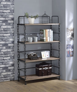 Acme Jodie Rustic Oak Antique Black Metal Bookcase
