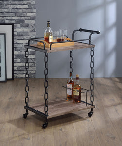 Acme Jodie Rustic Oak Antique Black Metal Serving Cart