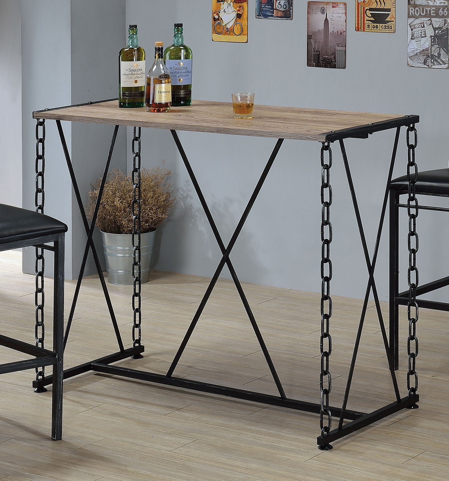 Acme Jodie Rustic Oak Metal Bar Table