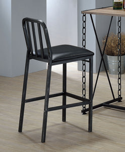 Acme Jodie Black Leather And Metal Finish 2 Piece Counter Height Bar Stool