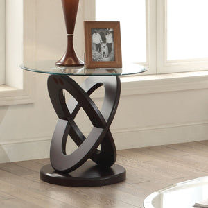 Acme Gable Espresso Glass Top Round End Table