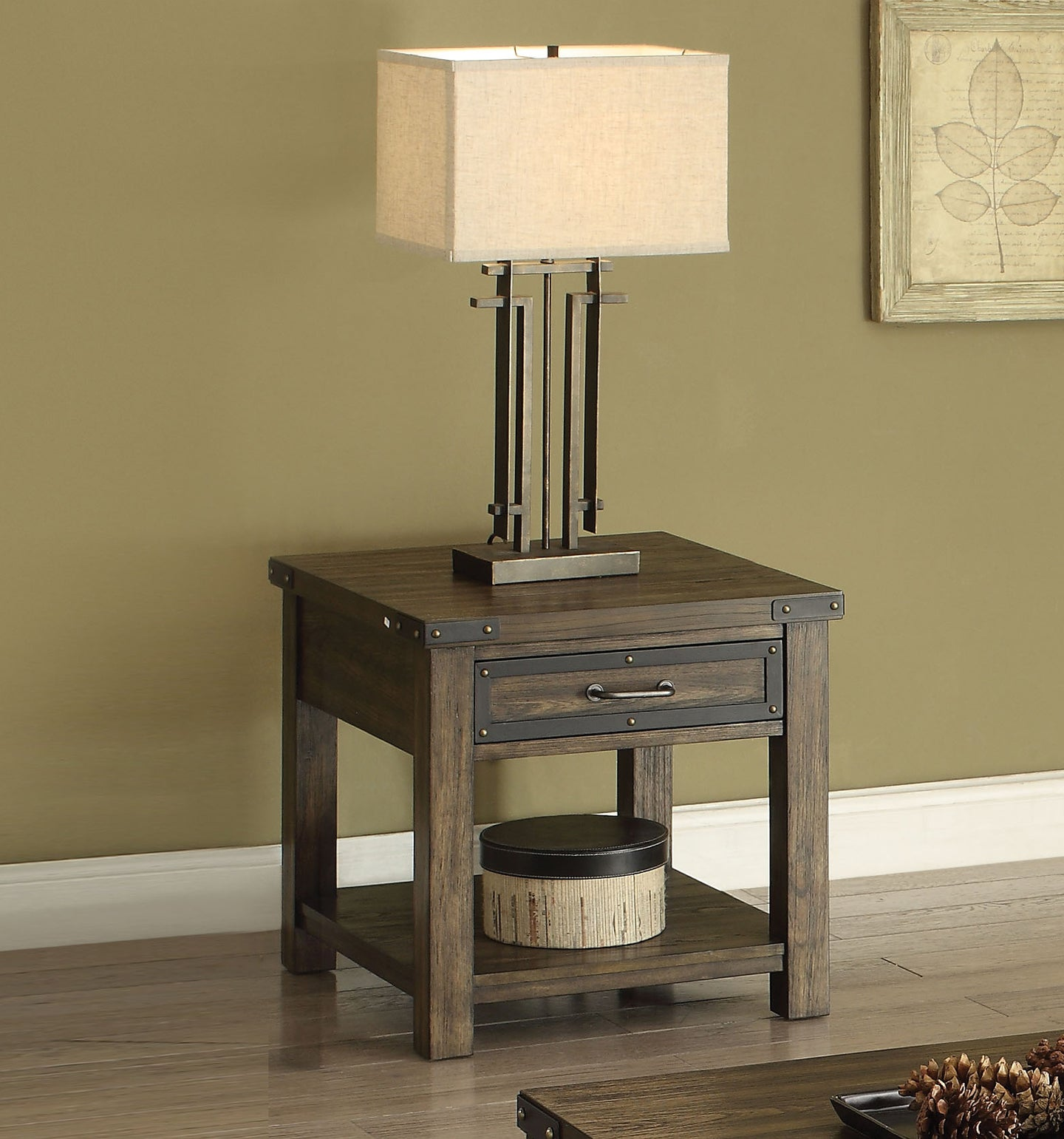 Acme Kailas Weathered Dark Oak End Table with Drawer