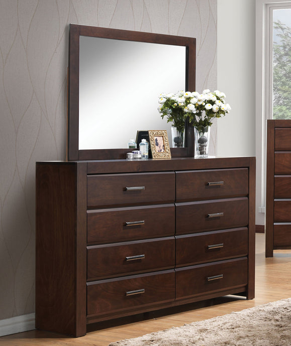 Acme Oberreit Walnut Drawer Dresser And Mirror