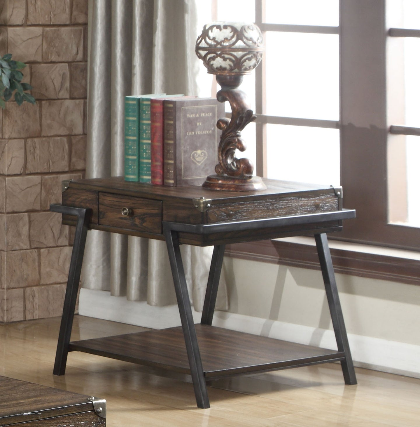 Acme Macall Weathered Dark Oak Drawer End Table