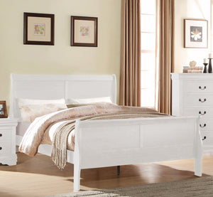 Acme Louis Philippe White Wood Finish Queen Sleigh Bed