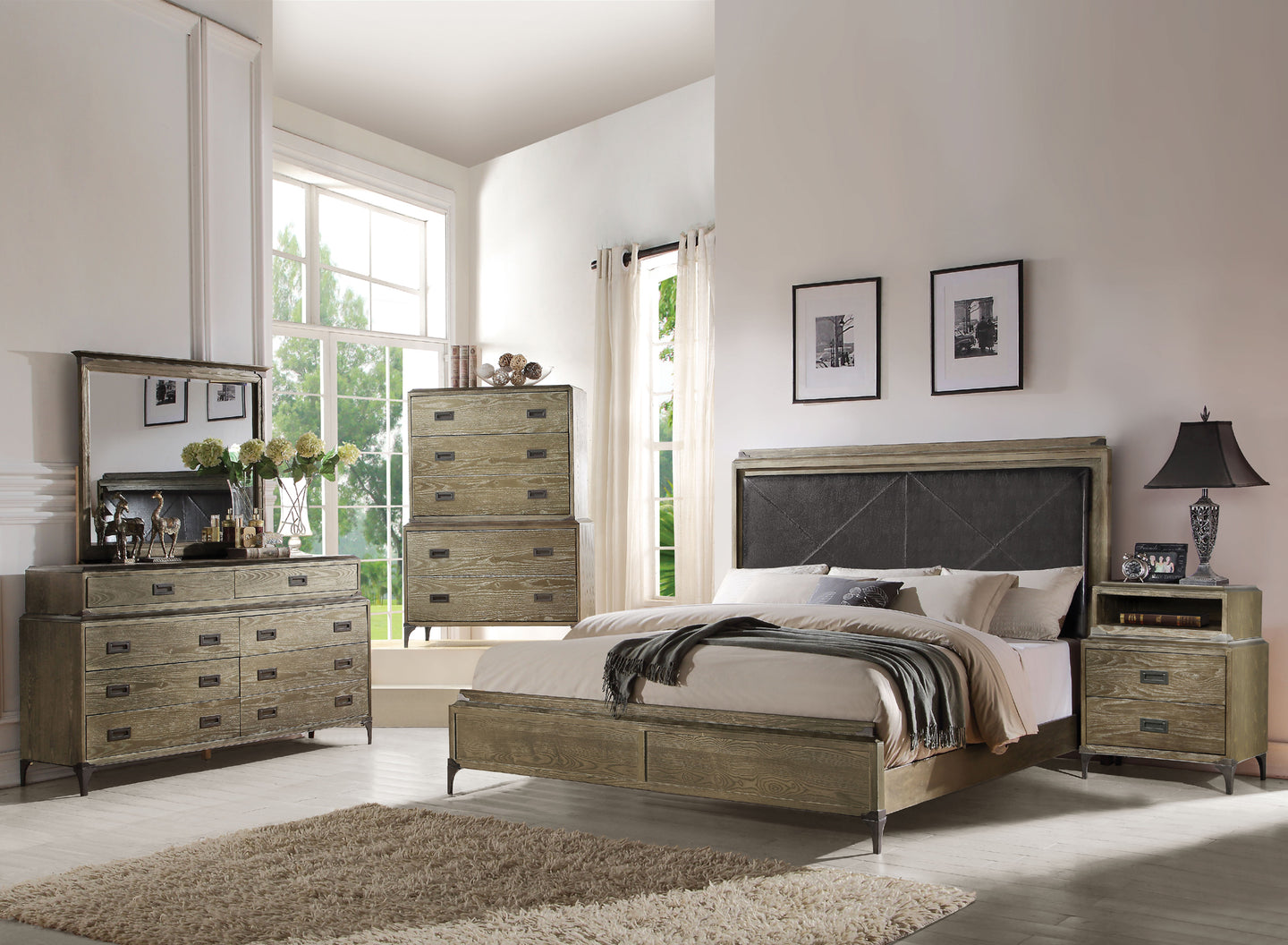 Acme Athouman Weather Oak King Panel Bedroom Set