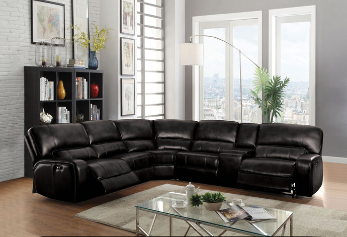 Acme 54150 Saul 6 Pieces Black Leather Power Motion Sectional Sofa
