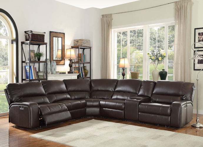 Acme 54155 Saul 6 Pieces Espresso Leather Power Motion Sectional Sofa