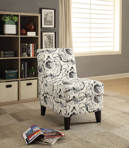 Acme Ollano Pattern Fabric Finish Accent Chair With Storage