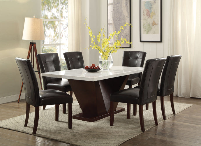 Acme Forbes Walnut Dining Set With White Marble Top