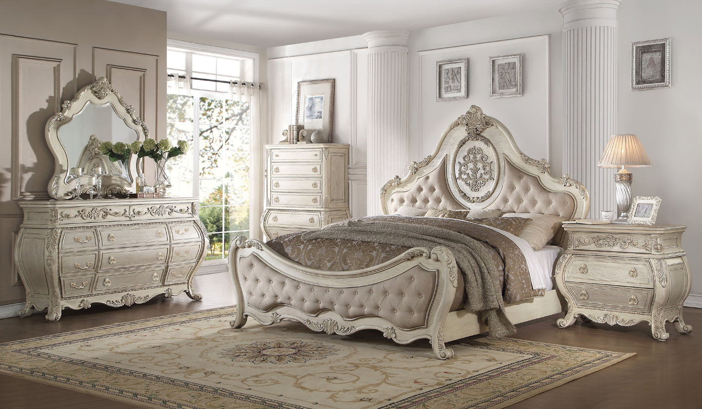 Acme Ragenardus Antique White Pu King Bedroom Set