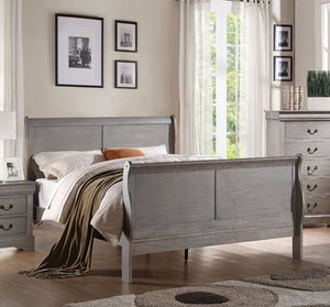 Acme Louis Philippe Antique Gray Wood Finish Twin Sleigh Bed
