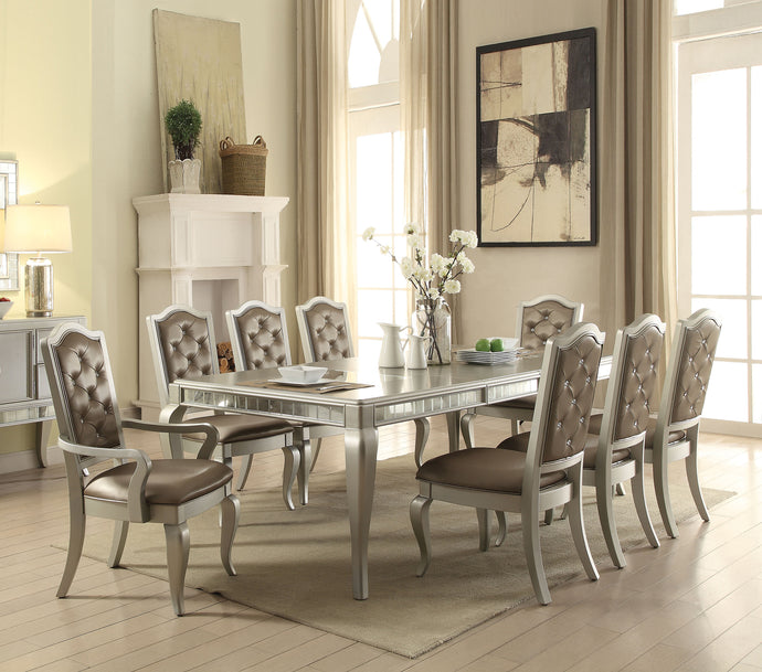 Acme 62080 Francesca 9 Pieces Champagne Dining Table Set with Leaf