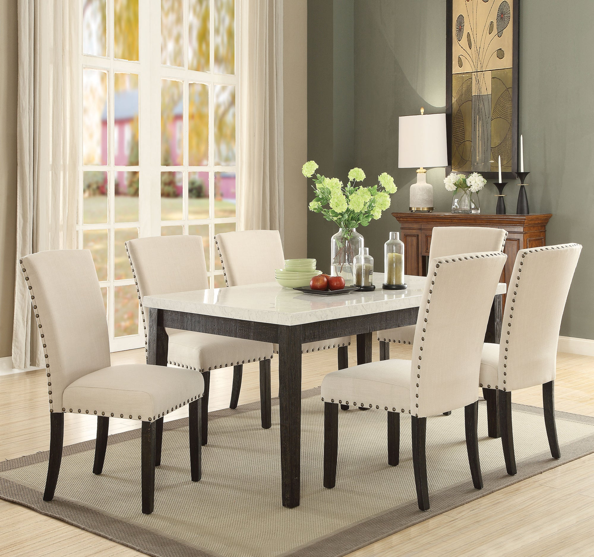 Terrific Acme 72850 Nolan 7 Pieces White Faux Marble Top Dining Table Set Home Interior And Landscaping Ologienasavecom