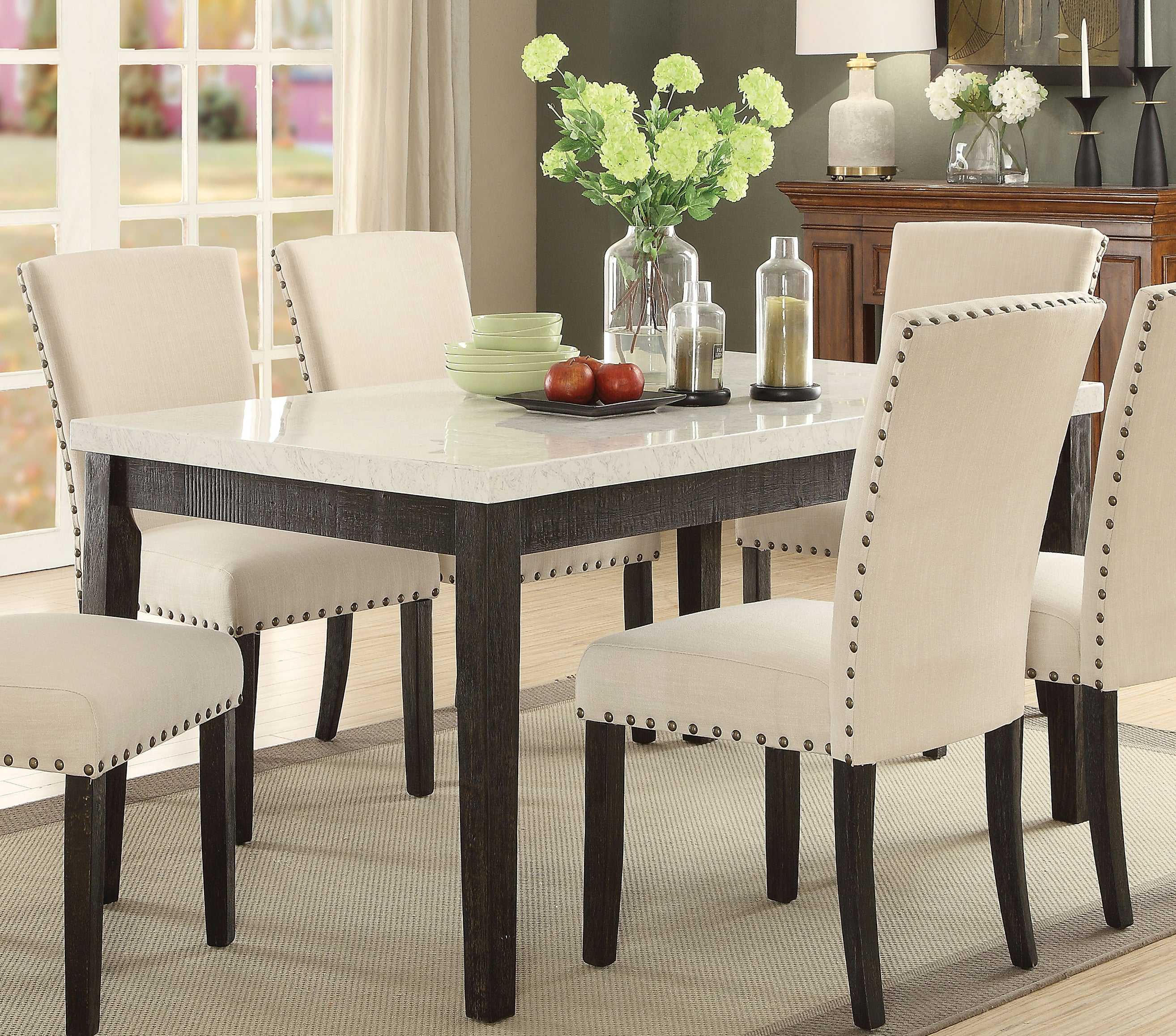 Acme 72850 Nolan White Faux Marble Top Dining Table