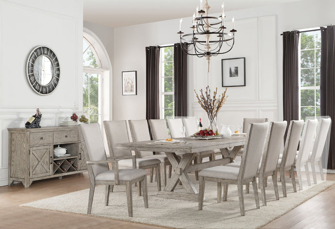 Acme 72860 Rocky 9 Pieces Gray Oak Pedestal Dining Set with Leaves