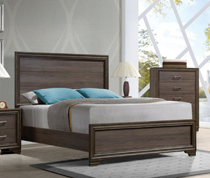 Acme Cyrille Walnut King Panel Bed