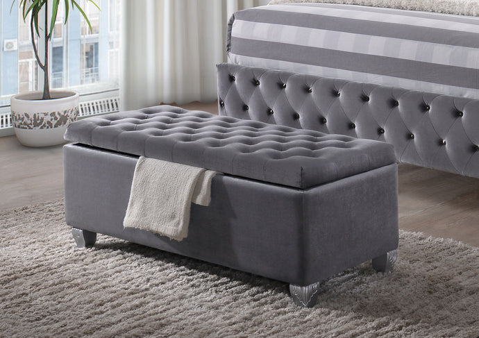 Acme 96546 Rebekah Gray Fabric Finish Button Tufted Bench