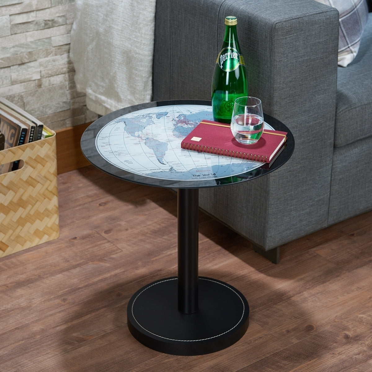 Acme Boli Black Map Glass End Table
