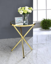 Load image into Gallery viewer, Acme Lajita Gold Mirror And Metal Finish Side Table