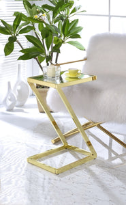 Acme Laina Side Table Gold Mirror