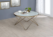 Load image into Gallery viewer, Acme 81825 Valora Coffee Table Champagne Frosted Glass