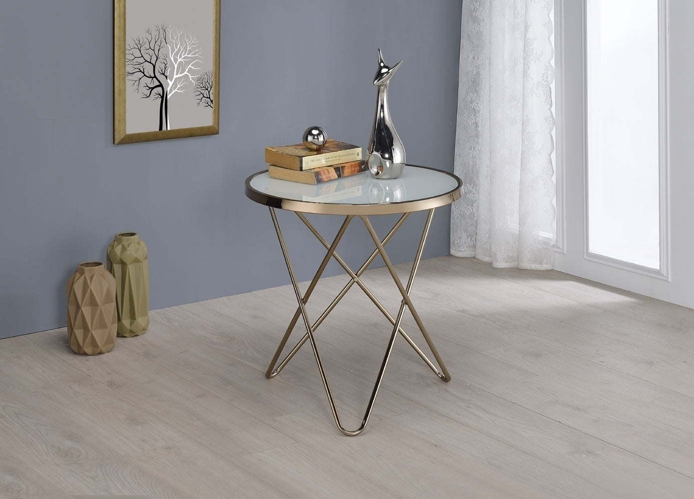 Acme 81827 Valora Champagne Frosted Glass End Table