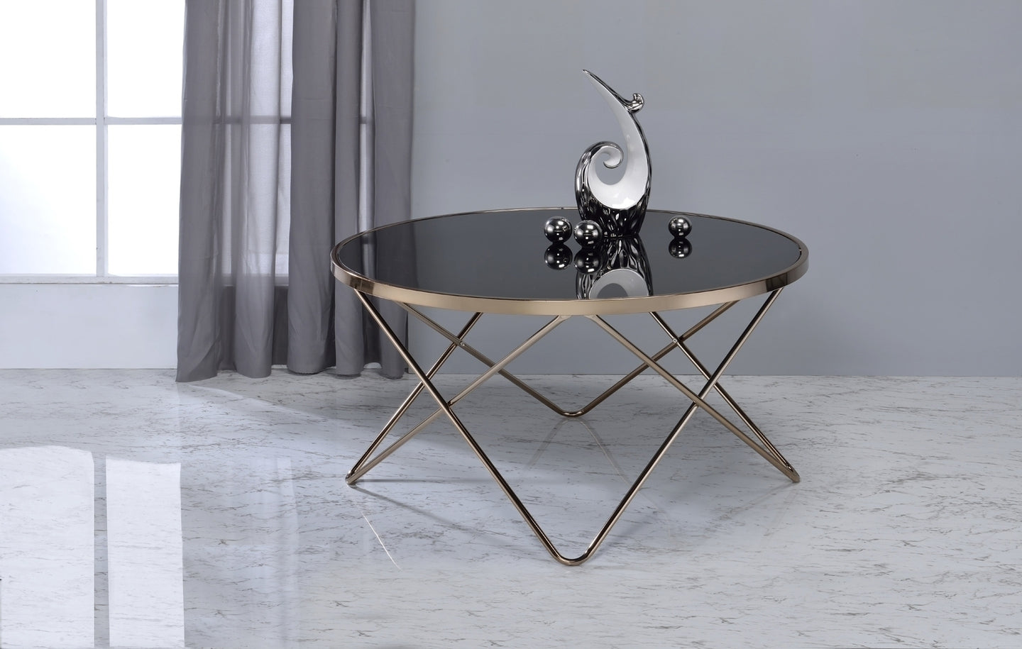 Acme 81830 Valora Coffee Table Black Glass Champagne