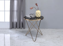 Load image into Gallery viewer, Acme Valora Black Glass Top And Champagne Finish End Table