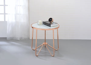 Acme 81837 Alivia Rose Gold Frosted Glass End Table