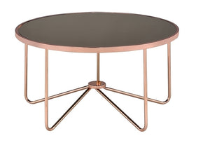Acme 81840 Alivia Coffee Table Rose Gold Smoky Glass