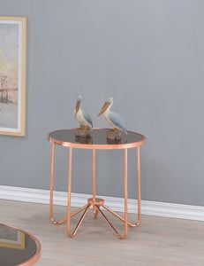 Acme 81842 Alivia Rose Gold Smoky Glass Finish End Table