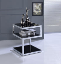 Load image into Gallery viewer, Acme 81848 Alyea Chrome Black Glass Finish End Table