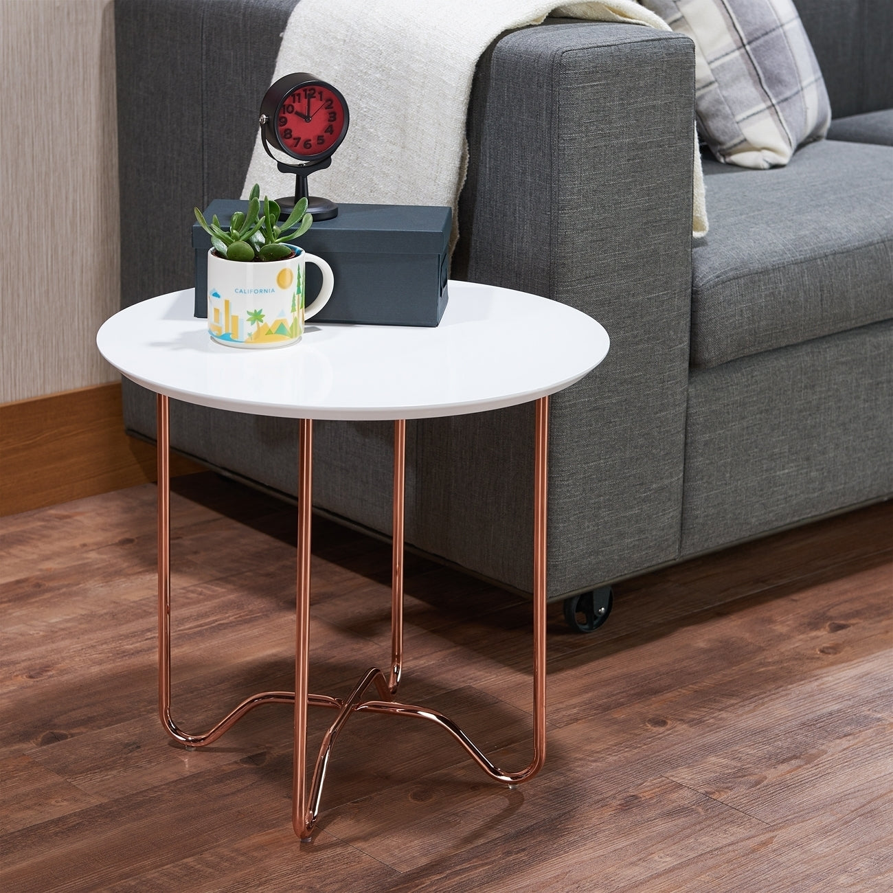 Acme Canty White Rose Gold End Table