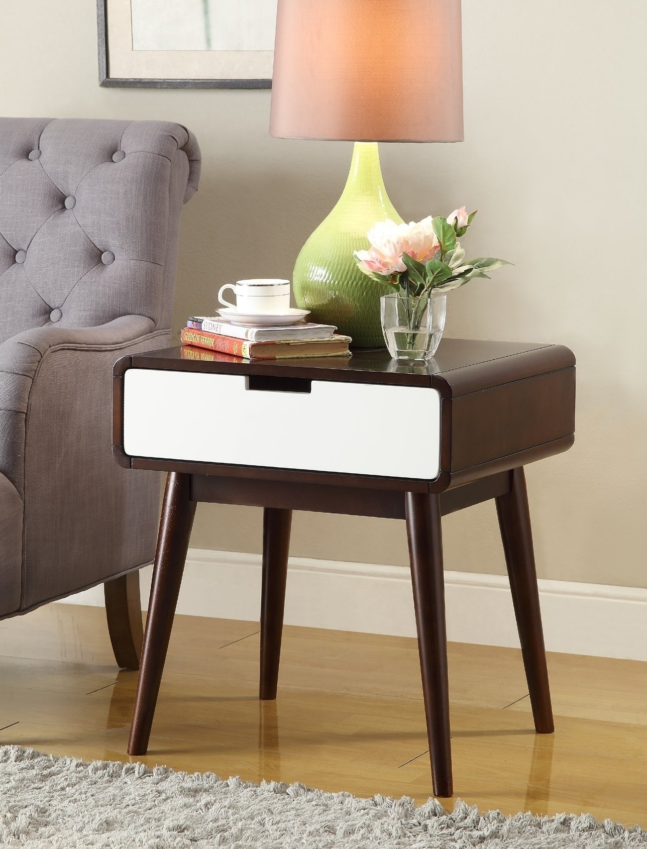 Acme Christa Espresso White End Table Usb Power Dock