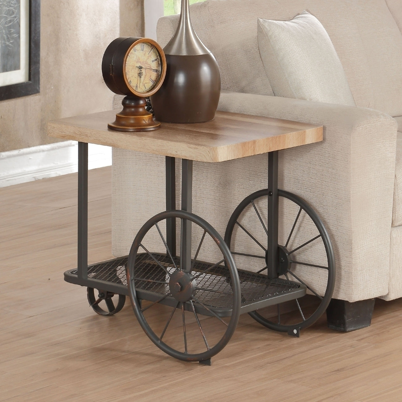 Acme Francie Oak Antique Gray End Table