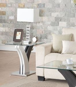 Acme Forest Clear Glass White Walnut End Table