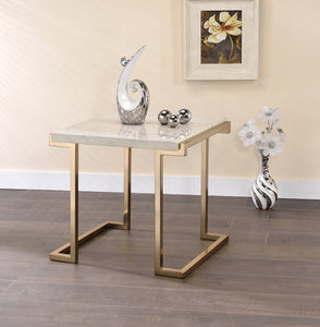 Acme Boice Faux Faux Marble Champagne End Table
