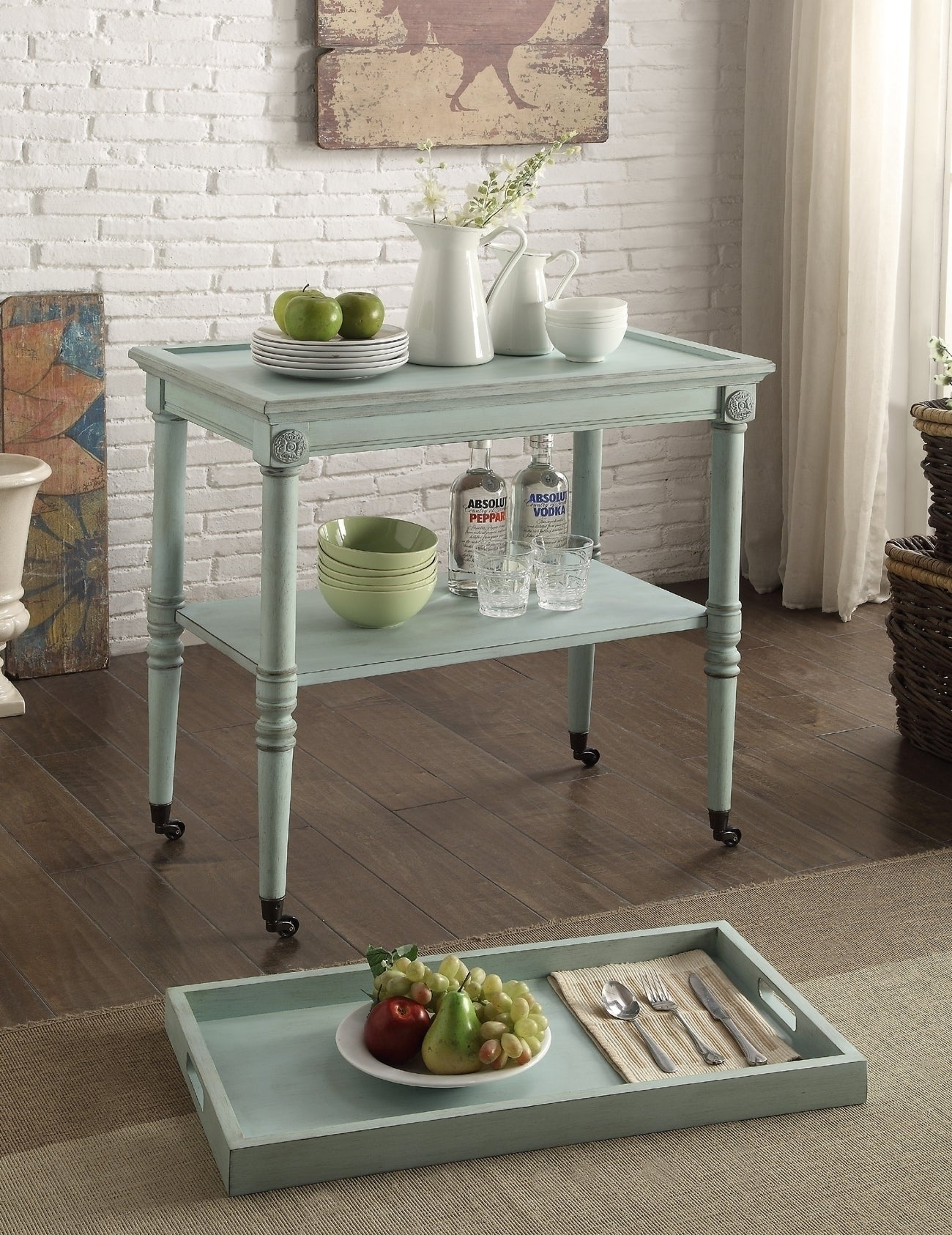 Acme Frisco Antique Green Tray Table
