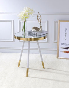 Acme Mazon Mirror-Antique Brass White End Table