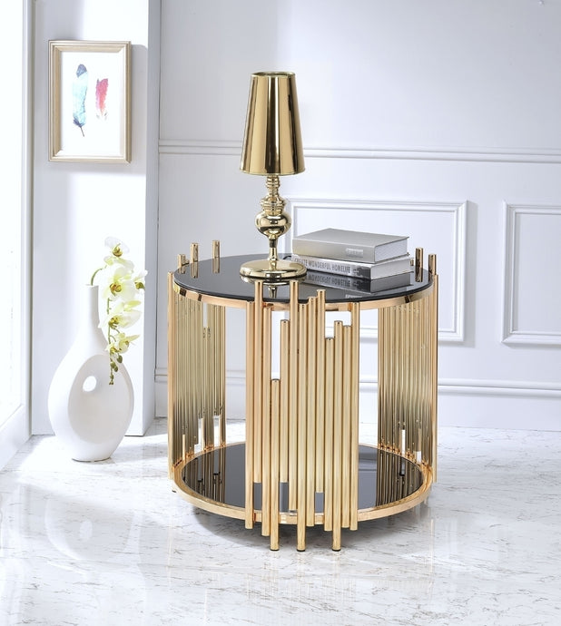 Acme 84492 Tanquin Gold Black Glass Finish End Table