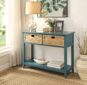 Acme Flavius Teal Drawer Console Table