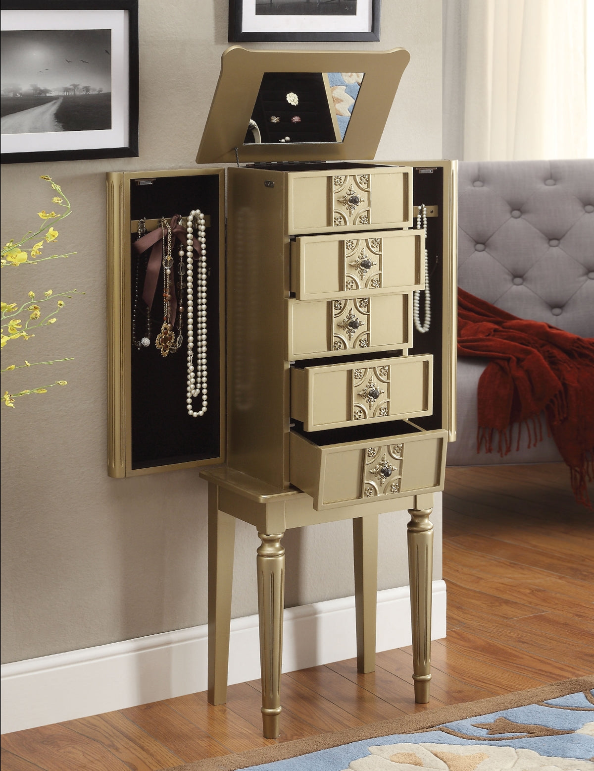 Acme Tammy Gold Storage Jewelry Armoire