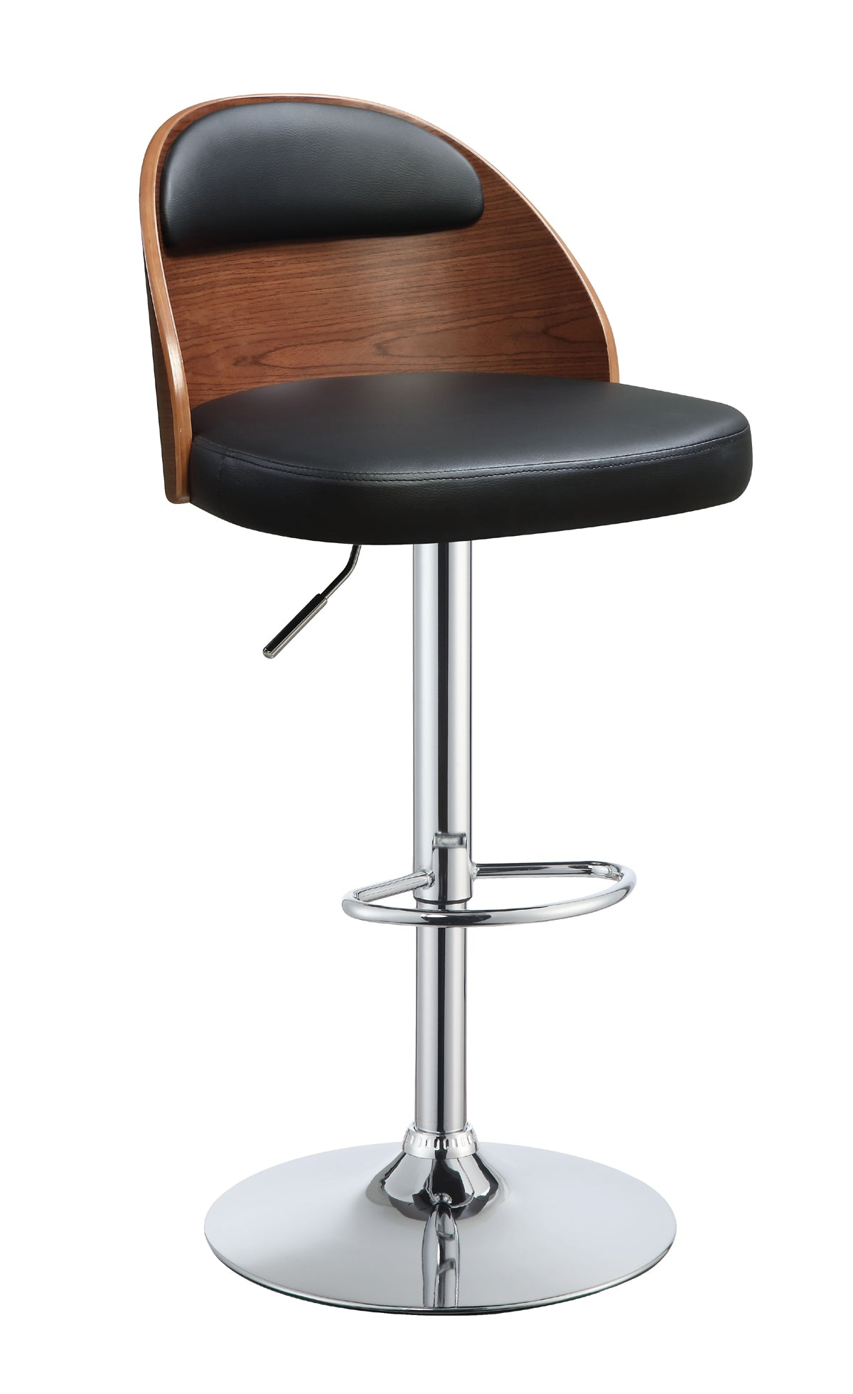 Acme Camila Black PU Walnut Finish Transitional Adjustable Swivel Stool