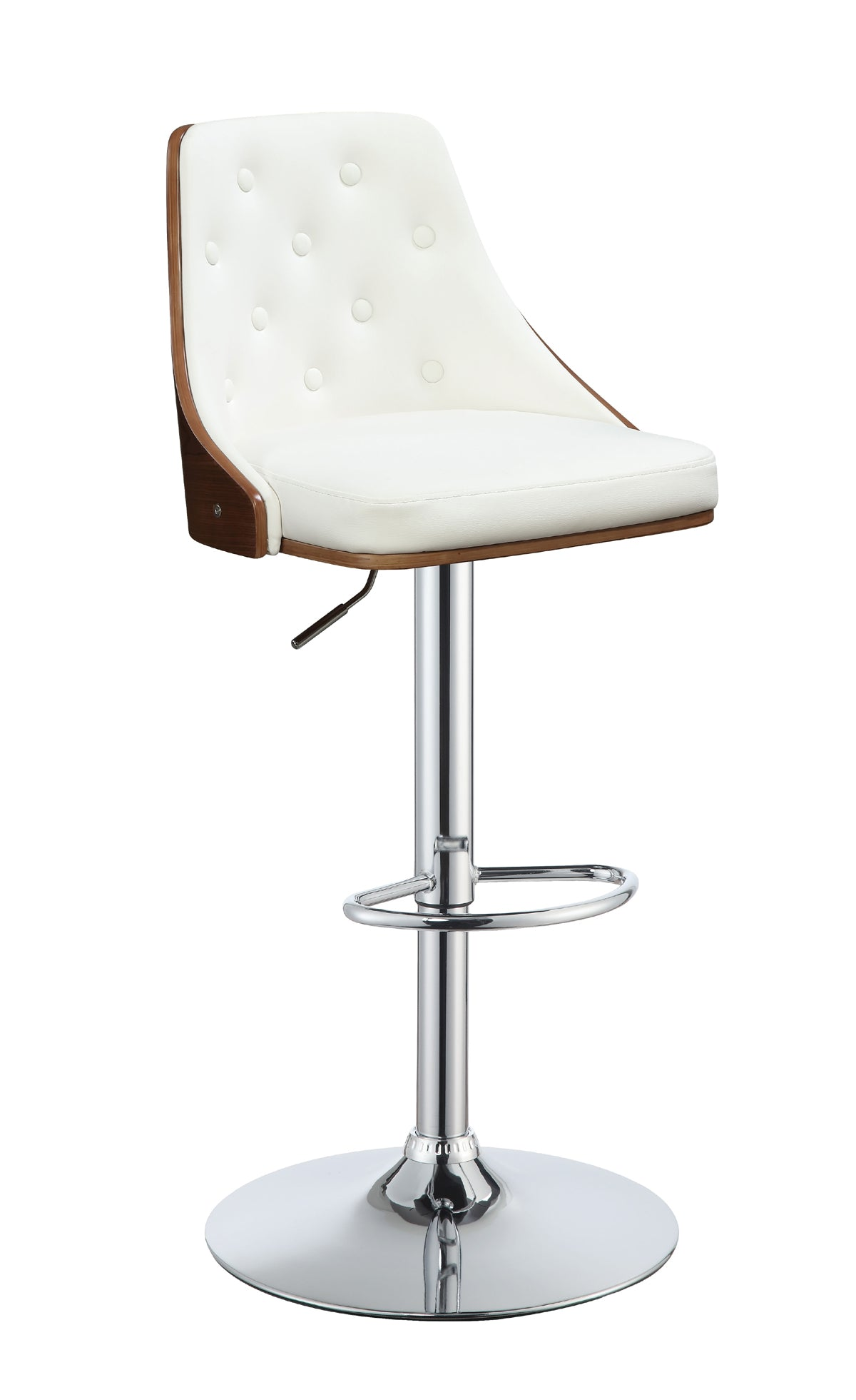 Acme Camila White PU Walnut Adjustable Swivel Stool