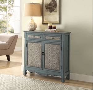 Acme 97245 Winchell Antique Blue Drawer Door Console Table